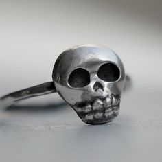 Baby Skull Ring Mini Skull Oxidized Sterling by LUCIUSjewelry