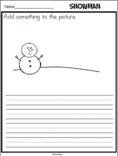 Snowman writing page with picture prompt grade writing, kindergarten writing prompts, fun writing Work On Writing, Picture Writing Prompts, Cool Writing, Writing A Book, Picture Prompt, Writing Ideas, Children Writing, Kindergarten Writing Prompts, First Grade Writing
