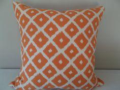 Orange Ikat Geometric Jumba Decorative Pillow Cover - Throw PIllow - Accent Pillow - Both Sides - Ikat Pillows, Modern Throw Pillows, Toss Pillows, Accent Pillows, Trellis Design, Decorative Pillow Covers, Printing On Fabric, Pattern Design, Dots