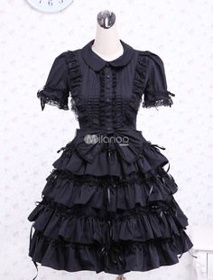 Black-Turndown-Collar-Multi-layer-Cotton-Gothic-Lolita-Dress