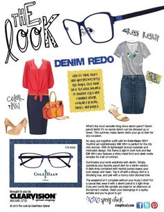 Ladies, for an easy, put-together outfit pair a denim skirt w/ a pair of NYC chic @Cole Roberts Roberts Haan specs