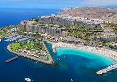 """Playa de Anfi del Mar.Fotos Aéreas """"Costa turística de Mogán"""" Gran Canaria Islas Canarias"""