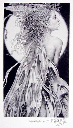 ed org moon-faerie fairy watercolor original Fairy Land, Fairy Tales, Blue Fairy, Moon Fairy, Kobold, Moon Shadow, Mystique, Magical Creatures, Faeries
