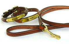 Custom Leather  with Brass Plate  Dog Collars by Devonhill on Etsy, $65.00