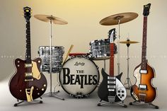 The Beatles - Instruments Foto Beatles, Beatles Poster, Beatles Guitar, Les Beatles, Beatles Art, Beatles Photos, Music Pics, Music Images, Music Stuff