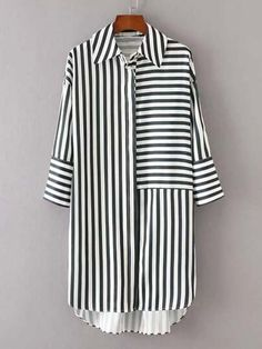 ROMWE offers Dip Hem Striped Shirt Dress & more to fit your fashionable needs. ROMWE offers Dip Hem Striped Shirt Dress & more to fit your fashionable needs. Sewing Dresses For Women, Clothes For Women, Dress Sewing, Sewing Clothes Women, Dress Shirts For Women, Kurta Designs, Blouse Designs, Hijab Fashion, Fashion Dresses