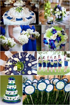 spring green and navy blue wedding color theme... I am thinking this is what you had in mind...ish? Jannette R. <3