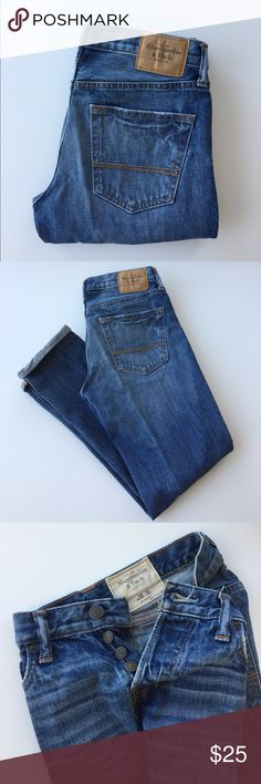 Abercrombie & Fitch Tapered Faded Blue Jeans Barely worn Abercrombie & Fitch Faded Blue Jeans. Waist 30. Inseam 30. (Fits true to size) Wider at the seat. Tapered towards the leg. Great for athletes. Slightly faded blue with great selvedge like quality. Cuffable at the bottom with great details because it's cuffing season.  Selling all the clothes I own so that I can get the iPhone X. #iSheep Abercrombie & Fitch Jeans Slim