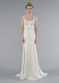 Same Mark Zunino Wedding Dress, Front View. Its Looks Like A Flower Petal  Detail.