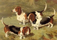 Basset Hounds ~ Cassells, Dogs ~ Cross Stitch Pattern #StoneyKnobFarmHeirlooms #FramedPicture