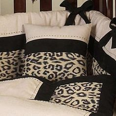 Animal Safari Ivory And Black Leopard Print 9 Piece Crib Bedding Set
