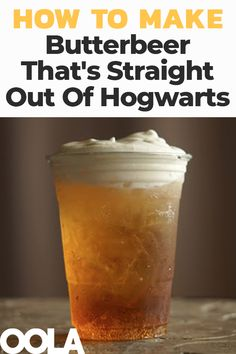 Even if you're not a Harry Potter fan, you're sure to enjoy the series' most famous beverage, Butterbeer, a butterscotch-flavored, slightly frothy libation. Read on for our recipe for the most wizard-worthy Butterbeer. Beer Recipes, Alcohol Recipes, Snack Recipes, Cooking Recipes, Drink Recipes, Drinks Alcohol, Easy Recipes, Dessert Recipes, How To Make Butterbeer