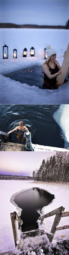 Winter swimming in Finland :)  ~ I don't care how much fun it looks like they're having, it's just no. No. NO.