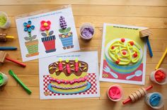 Download and print our dough mats. Slip into plastic sleeves and design dough creations on the wipable surface | alexbrands.com