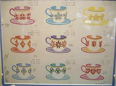 Mary Blair concept art for Disneyland's Mad Tea party featuring these darling tea cups