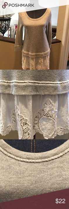 "Anthropologie Top 9-His S'CL for Anthropologie. Size small. Gray with white lace fabric around the bottom. Used good condition with mild piling noted. No stains or tears. Measures 16"" from armpit to armpit. Length 29"" from top to bottom. ❌No Trades❌Proceeds go towards feeding the homeless❌Bundle to save, I have hundreds of items to choose from❌ Anthropologie Tops Tunics"
