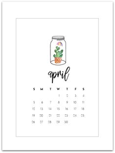 April Calendar Page – Free Mason Jar Calendar Page Printable. You can download and print the free April Mason Jar Calendar Page at this link. To be honest, I'm happy to say sayonara to March … it wasn't my best of months. It kicked off with me being sick. But just not any sick. Really, …