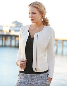 Textured Zip Jacket in Ivory by Pepperberry