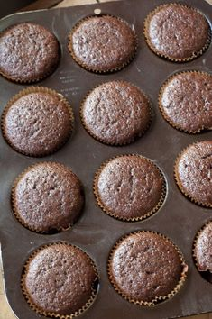 Buttermilk and olive oil add a pleasant subtle tang and a slight crisp to the exterior of these moist chocolate cupcakes.