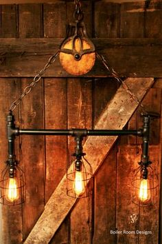 Industrial black pipe 3-light chandelier