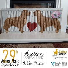 Picnic Auction Sneak Peek! This beautiful Shutter made by Barking Dog Salvage, was generously donated by Brenda Poirier, in loving memory of Cher #1796. It is just one of the many items up for auction at this year's picnic. Make sure you're there so you don't miss out! ***If you are bringing an auction item to the picnic, please email sa@goldenrescue.ca with the information. We need to ensure we have this information ahead of time so that we can have the bid sheets ready and items listed on… Auction Items, In Loving Memory, Cher, Shutters, Life Is Good, Picnic, Dog, Beautiful, Handstand