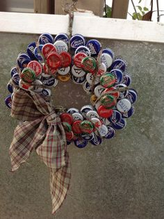 Hey, I found this really awesome Etsy listing at http://www.etsy.com/listing/166554064/beer-bottle-cap-wreath