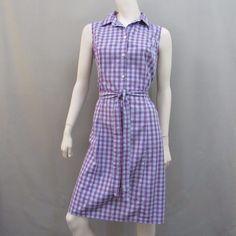 Lands End Dress 10 Sundress Plaid Retro Button Tie Waist #LandsEnd #ShiftShirtDressSundress #Casual