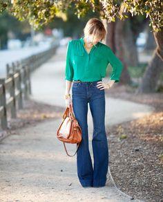 Emerald Blouse + Denim + Cognac via member @Bree McLean