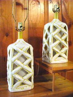 Incredible Pair of Mid Century Ceramic Faux Bamboo Lamps by URBAGE, $165.00