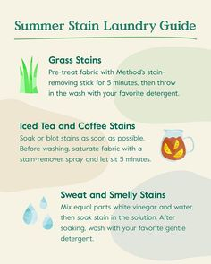 Natural laundry stain guide. Summer is our favorite season, but more time spent outside enjoying warm weather can mean more opportunities for unexpected laundry stains. Here's our top tips for getting the toughest summer stains and smells out of your favorite clothes — without harsh, synthetic chemicals. #laundry #laundrytips #laundryhack #cleaningtips #naturallaundry #laundrytipsforcollagestudents Grass Stains, English Writing Skills, Coffee Staining, Laundry Hacks, Fresh And Clean, Warm Weather, Cleaning Hacks, How To Remove