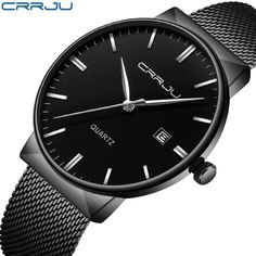 9b7c62ae18c black Top Luxury brand CRRJU Watches men Stainless Steel Mesh strap  Quartz-watch Ultra Thin