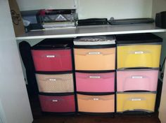 Just added another storage bin, putting cut scrapbook paper in the front. So neat and clean!