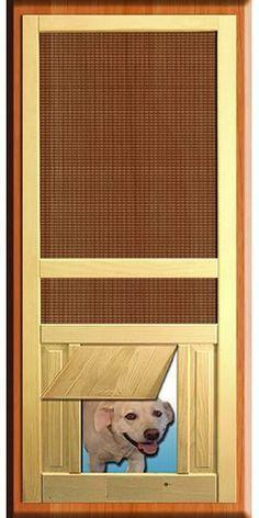 Wood Screen Door With Built In Dog Door Flap In Oak 30
