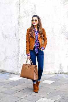 Beautiful Suede Moto Jacket Denim Style. Suede Jacket. Fall Jacket. Plaid Top. Flannel Top. Denim Style. #jackets #suede #falljacket