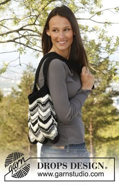 """Knitted DROPS bag with stripes and zigzag pattern in 1 therad """"Big Fabel"""" or 2 threads Fabel."""