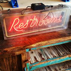 Scored this rad Restrooms sign at the world famous Schiller's Salvage in Tampa today! Gotta love vintage neon.  Also we bought a 1940's phone booth. Pics coming soon!  #390design #antique #neon #sign #signage #advertising #salvage #salvagedgoods #interiordesign #designer #vintage #smallbusiness #sarasota #florida #srq #stpete #tampa #rad #1989 #1980s #1970s by 390design