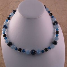 Dark & Light Blue Agate with Blue Quartz Wire Wrapped Memory Wire Short Necklace