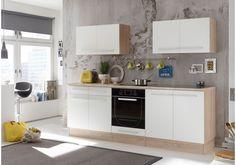 Dieser Küchenblock mit Elektrogeräten überzeugt durch klare Linien und einem modernen Design.  32-00262 Küchenzeile Küchenblock weiss matt/ Sonoma Eiche mit Elektrogeräten