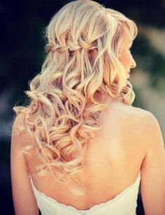 half up half down curled with a waterfall braid