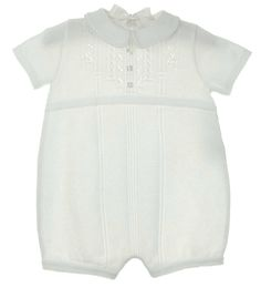 NEW Will'Beth White Fine Knit Cotton Romper with Delicate Openwork Christening Gowns For Boys, Baby Boy Christening Outfit, Baby Boy Romper, Baby Baptism, Baptism Ideas, Blessing Dress, Baby Blessing, Knitted Romper, Baby Boy Outfits