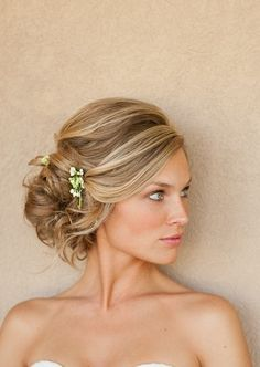 Low updo. Fantastic curls!