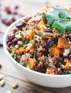 Roasted butternut squash, sweet cranberries, salty toasted pumpkin seeds mixed with balsamic vinaigrette