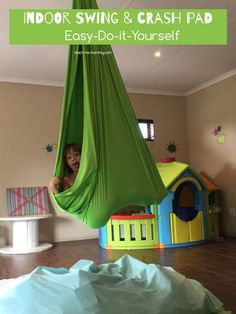 DIY Indoor Swing & Crash Pad This indoor swing and crash pad is an easy DIY project that your kids will love!