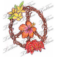 Marketplace Tattoo Peace Flowers #3696   CreateMyTattoo.com