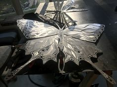 Aluminum plate butterfly still on the operating table :)