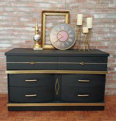painted furniture - black gold dresser