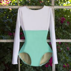 Custom Ballet Dancewear from Luckyleo in Seafoam Lycra and White with Long Sleeves