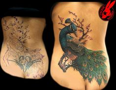 Peacock Cover Up tattoo by Jackie Rabbit by Jackie rabbit Tattoos, via Flickr