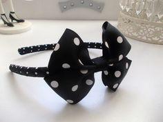 Bow alice band hair/headband , black/spotty all handmade. Alice Band, Headband Hairstyles, Hair Band, My Hair, Headbands, Baby Shoes, Bows, Handmade, Ebay