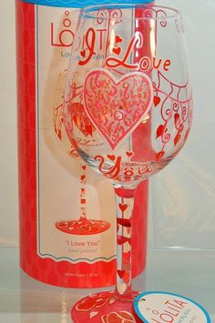 I Love You Hand-Painted Stemmed Glass